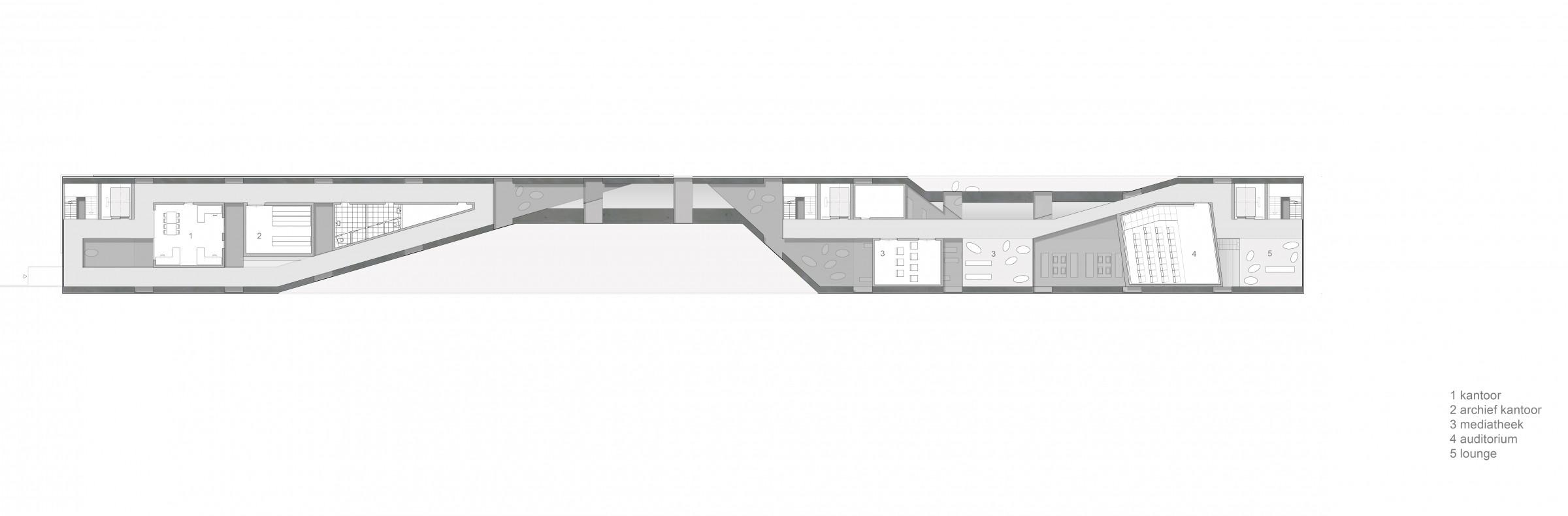 Plattegrond Kleine Keuken : Doorsnede1 archief2 kantoor3 onderhoud archief4 lounge5 mediatheek6